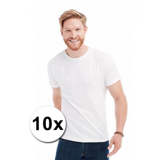 Afbeelding van 10x witte t-shirts voor heren
