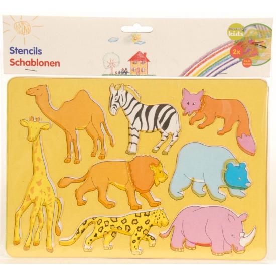 Afbeelding van 2 sjablonen dieren tekenen voor kinderen