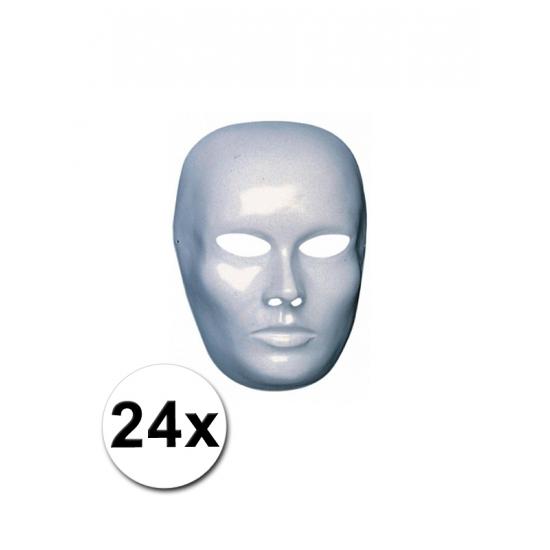 Afbeelding van 24 witte heren maskers om zelf te schilderen
