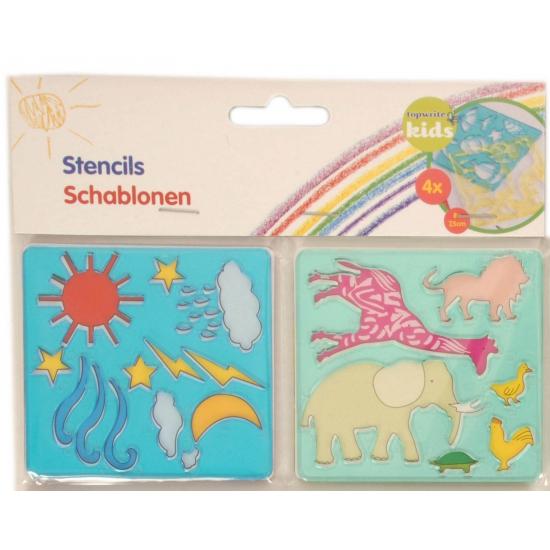 Afbeelding van 4 sjablonen dieren tekenen voor kinderen