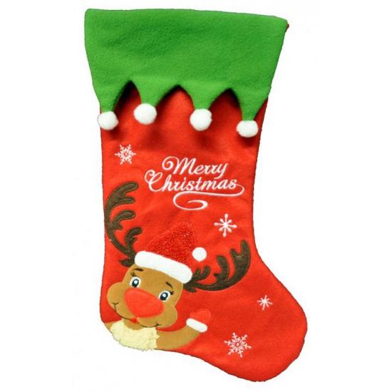 Kerstsok merry christmas. originele kerstsok met een rendier en de tekst: merry christmas. de sok is ongeveer ...