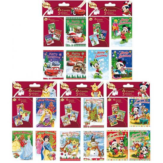 Disney mickey mouse kerstkaarten 6 stuks. setje van 6 kerstkaarten met vrolijke plaatjes van mickey in ...