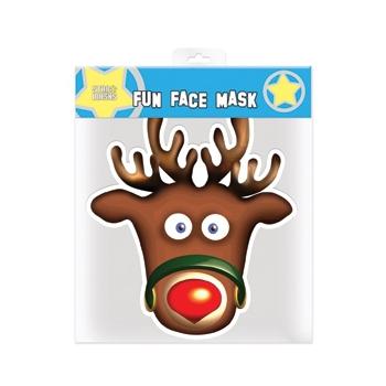 Rudolp het rendier masker. gezichtsmasker van stevig papier met een afdruk van rudolph, het rendier met de ...