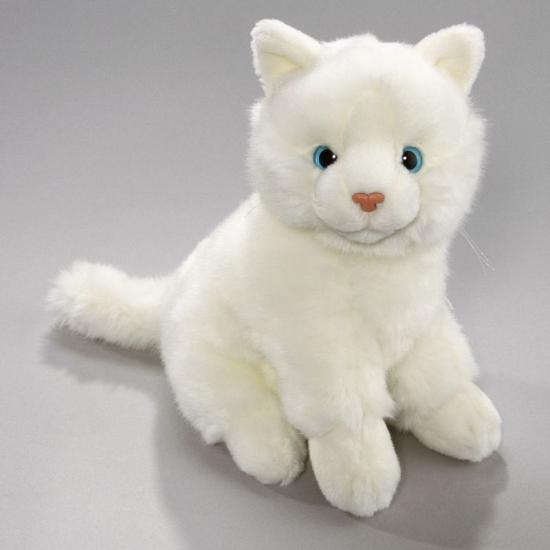 Pluche knuffel witte kat. knuffel van een witte kat in een zittende houding. de pluche knuffel is ongeveer 23 ...