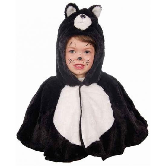Katten verkleedcape voor peuters. pluche katten cape voor kinderen. one size, ongeveer maat 104.