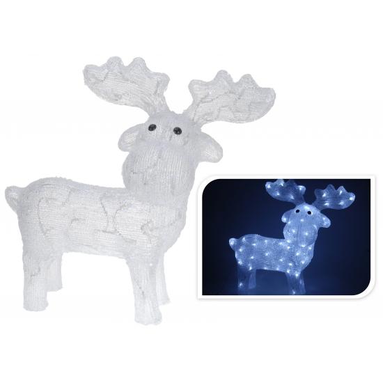 Rendier met led verlichting. deze witte decoratie rendier heeft 80 led lampjes en 5 meter snoer. formaat: ...