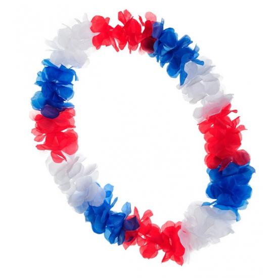Luxe holland hawaii krans rood wit blauw. hawaii krans met de bloemetjes in de kleuren rood, wit, blauw....