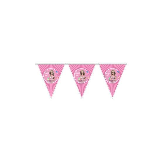 Barbie vlaggenlijn 3 meter. plastic roze vlaggenlijn met plaatjes van barbie. materiaal: plastic. formaat: ...