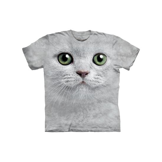 T shirt witte kat met groene ogen. t shirt van het merk the mountain met afbeelding van het gezicht van een ...