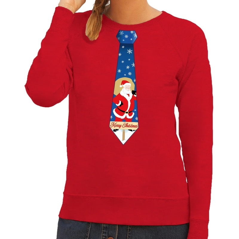Foute Kersttrui Dames Zalando.Print Grappige Met Stropdas Kerstmis Sweater Rood Foute Kersttrui