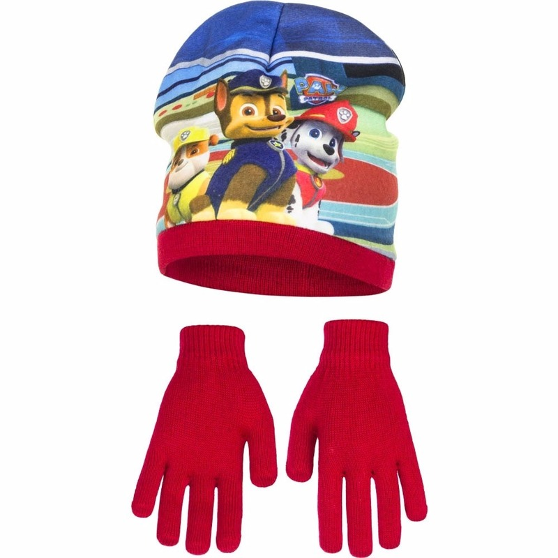 Paw patrol muts met handschoenen voor jongens. deze set bevat een rode muts met plaatjes van paw patrol en ...