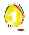 Feestartikelen Ballonnen 1 jaar van 30 cm 16 stuks + sticker
