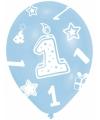 Verjaardag ballonnen blauw 1 jaar 6 stuks