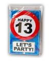 13 jaar verjaardagskaart met button