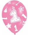 Verjaardag ballonnen roze 1 jaar 6 stuks