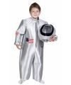 Zilver ruimtepak voor kinderen met helm