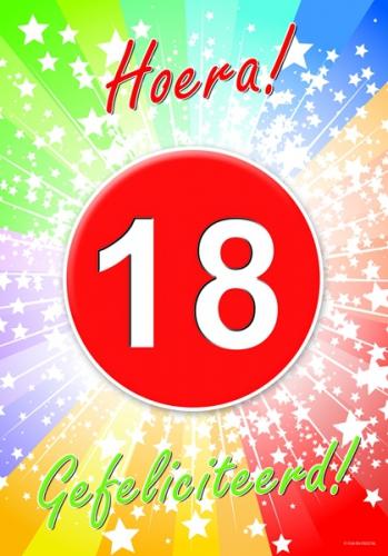 18 jarige gefeliciteerd poster - feestartikelen 18 jaar - trendmax