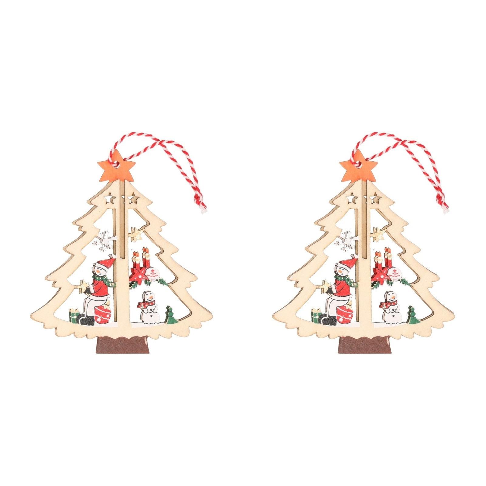 2x houten bomen met sneeuwpop kerstversiering hangdecoratie 10 cm. hout/multikleur kerstboom hangdecoratie in ...