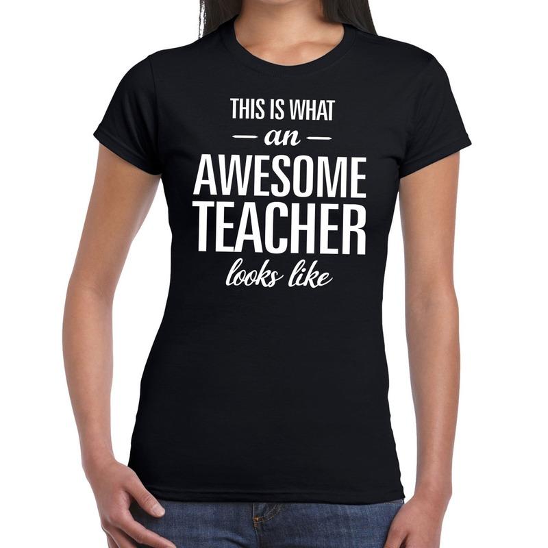 Awesome teacher cadeau juffendag t-shirt zwart dames Cadeau /feestartikelen/jub-geslaagd-familie/beste-lieve-juf