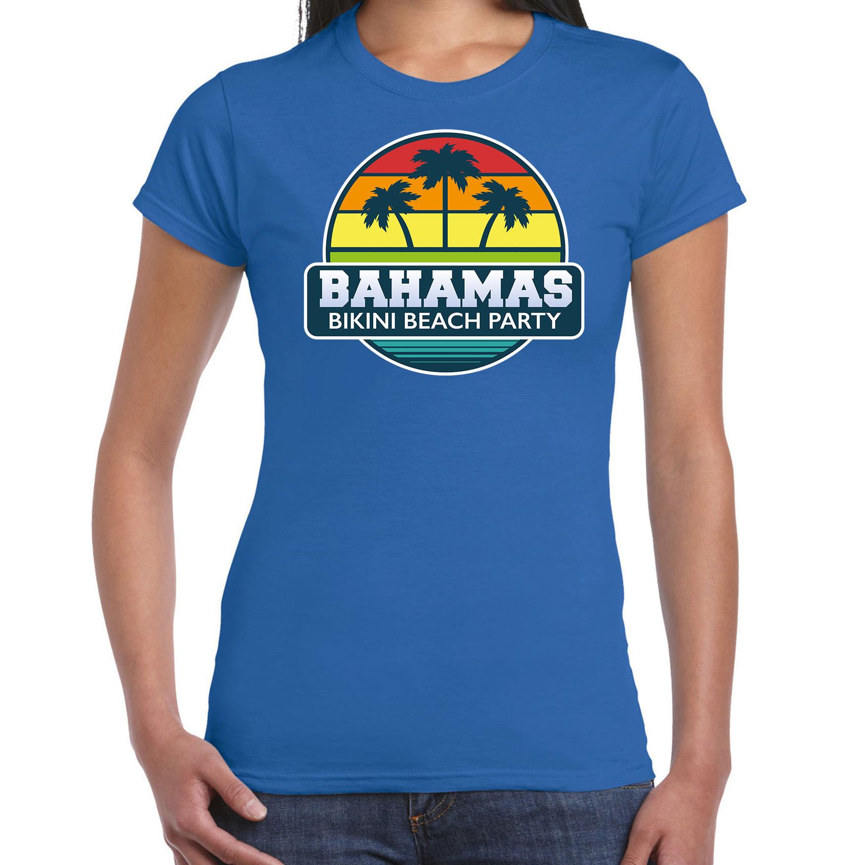 Bahamas zomer t-shirt / shirt Bahamas bikini beach party blauw voor dames