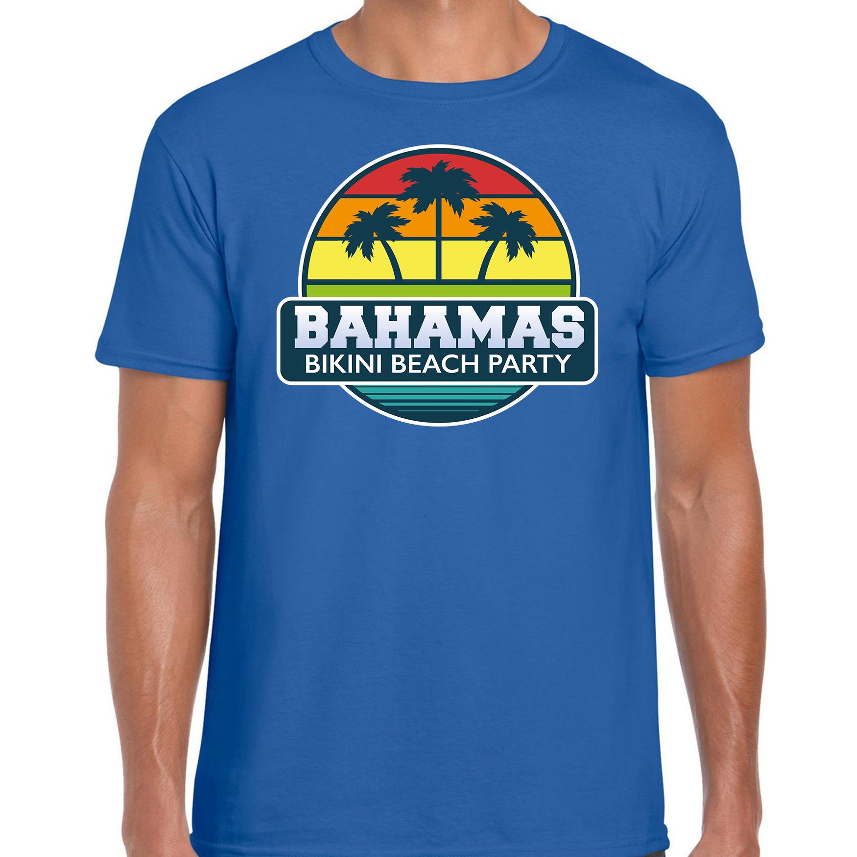 Bahamas zomer t-shirt / shirt Bahamas bikini beach party blauw voor heren