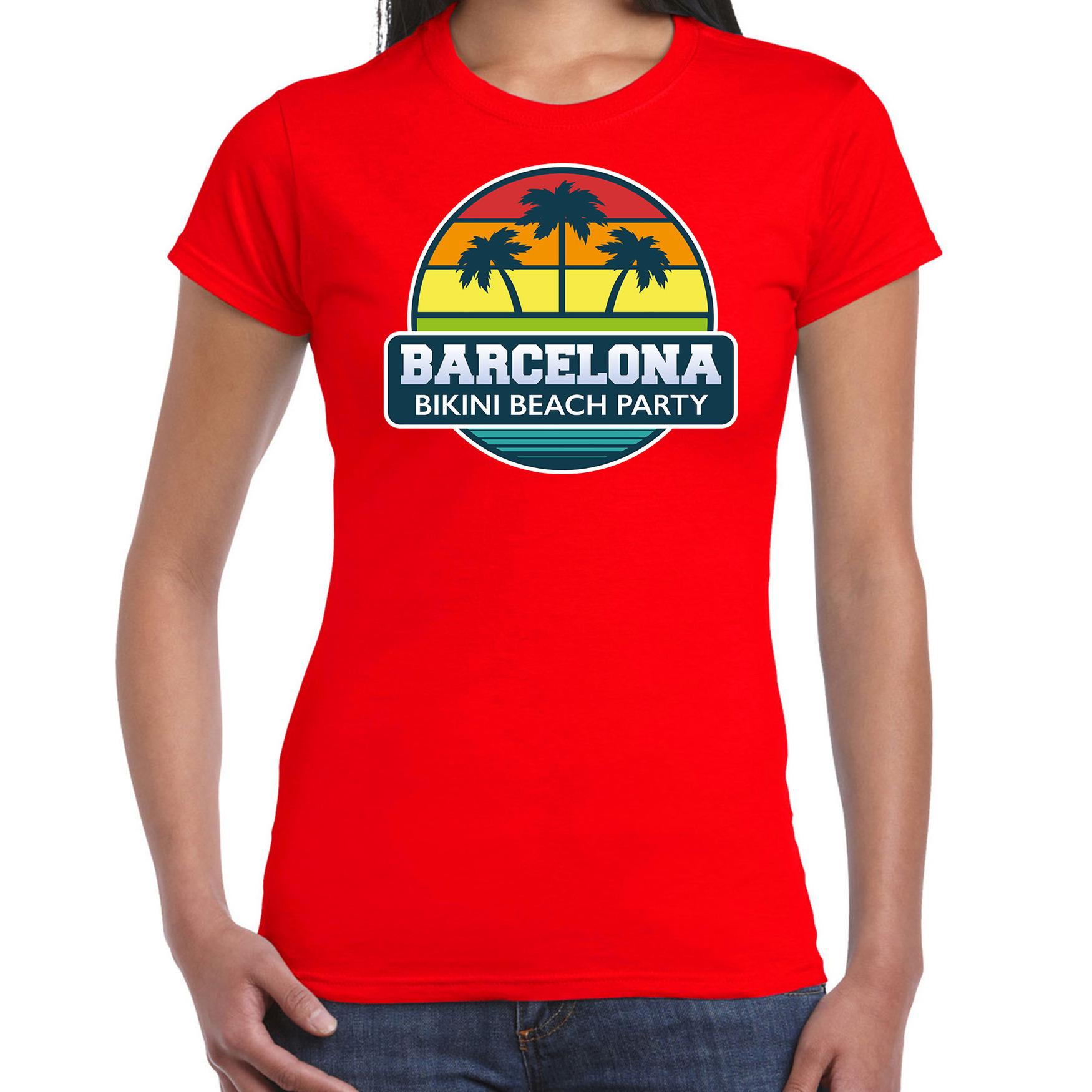 Barcelona zomer t-shirt / shirt Barcelona bikini beach party rood voor dames