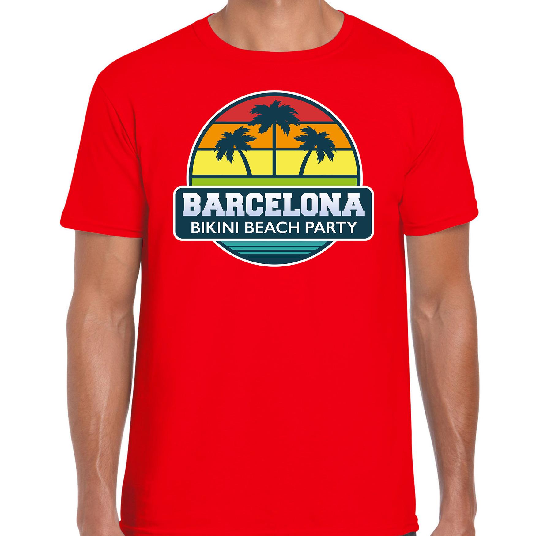 Barcelona zomer t-shirt / shirt Barcelona bikini beach party rood voor heren