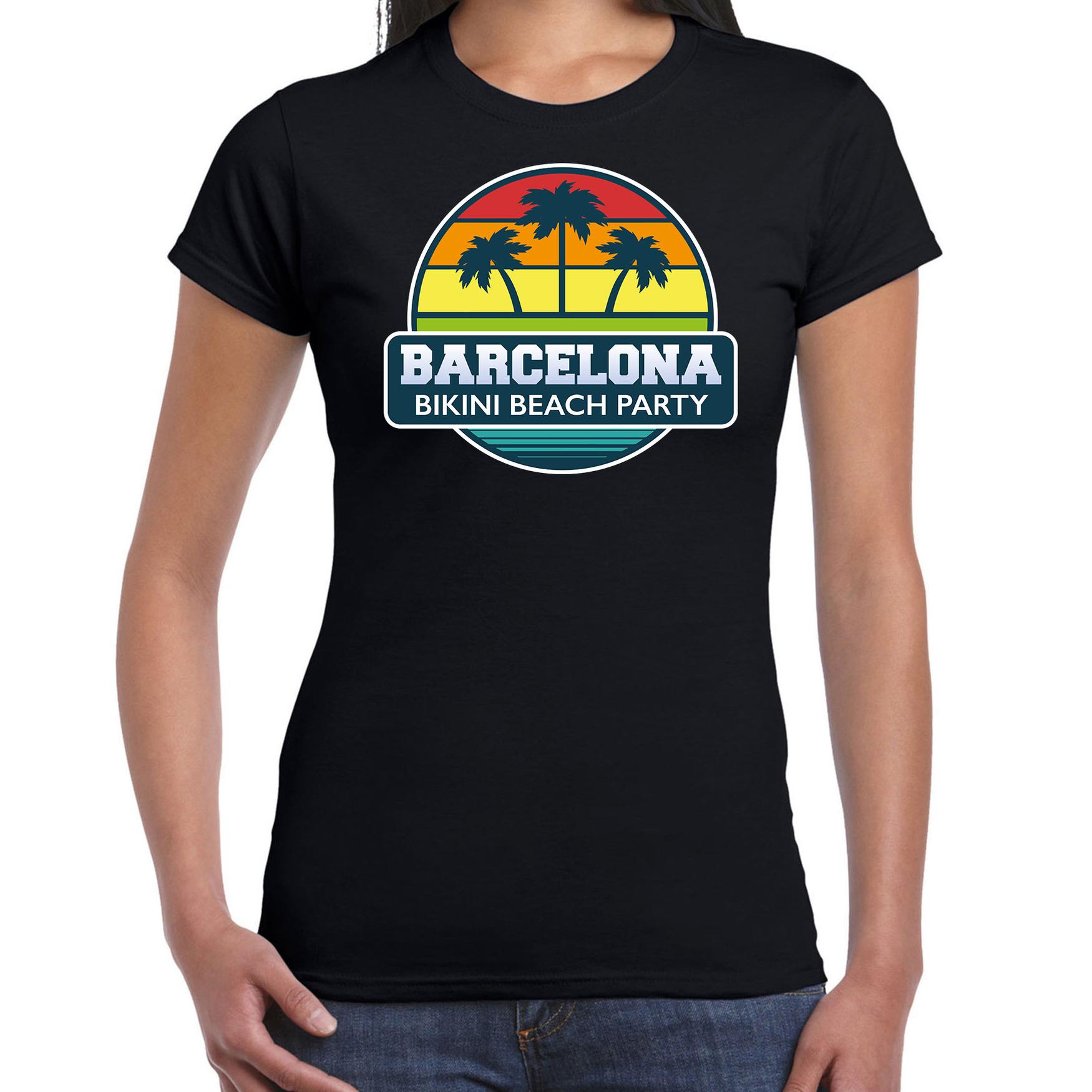 Barcelona zomer t-shirt / shirt Barcelona bikini beach party zwart voor dames