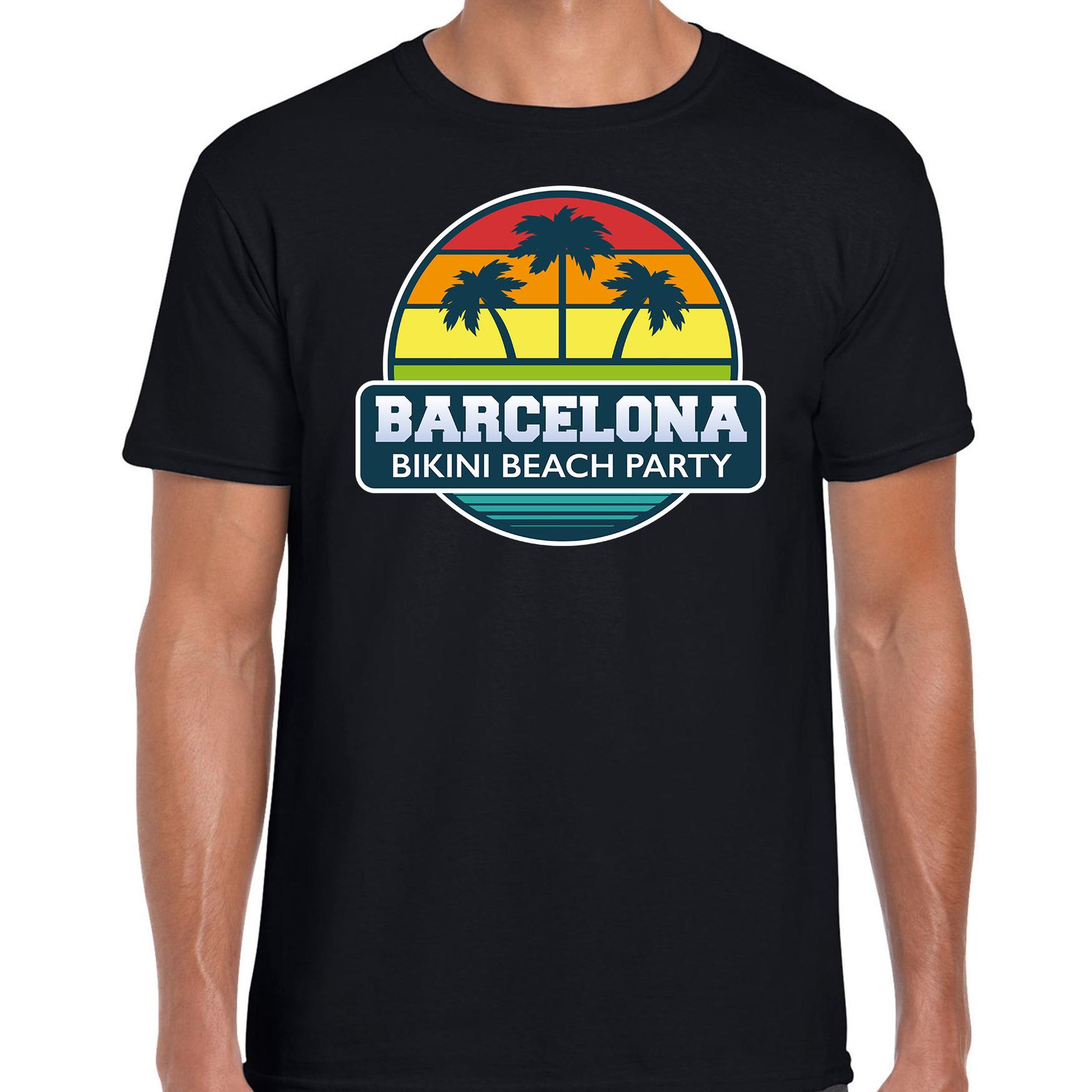 Barcelona zomer t-shirt / shirt Barcelona bikini beach party zwart voor heren