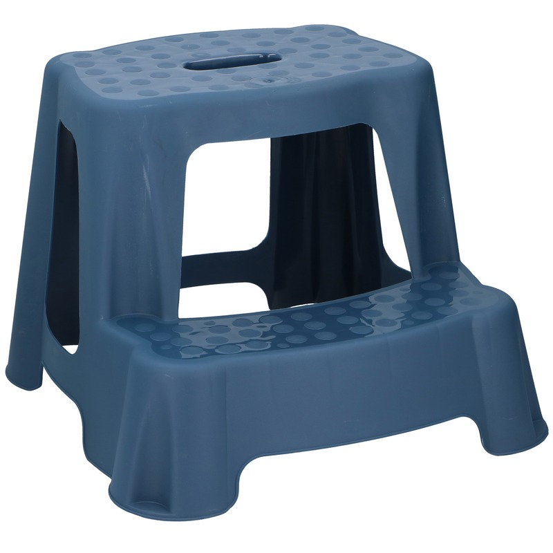 Blauw kinderkrukje/opstapje met 2 treden 35 cm