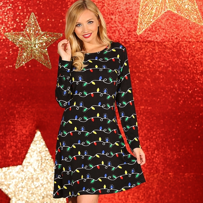 Kersttrui Lichtjes.Kerst Jurkje Zwart Met Lichtjes Print Kerst Truien Dames