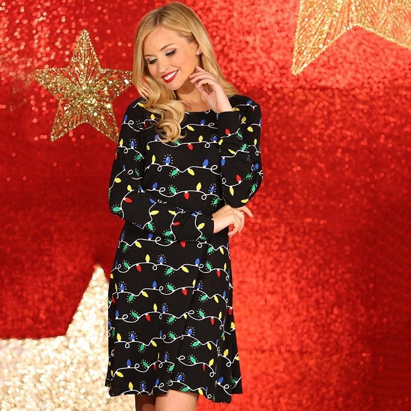 Kerst Jurkje Zwart.Kerst Jurkje Zwart Met Lichtjes Print Kerst Truien Dames