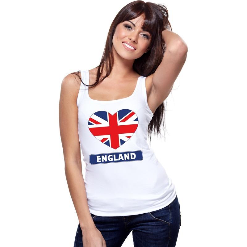 Wit engeland hart vlag singlet shirt/ tanktop voor dames. dit engelse mouwloze shirt heeft een print van een ...
