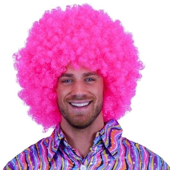 Feestartikelen Mega neon roze afro pruik