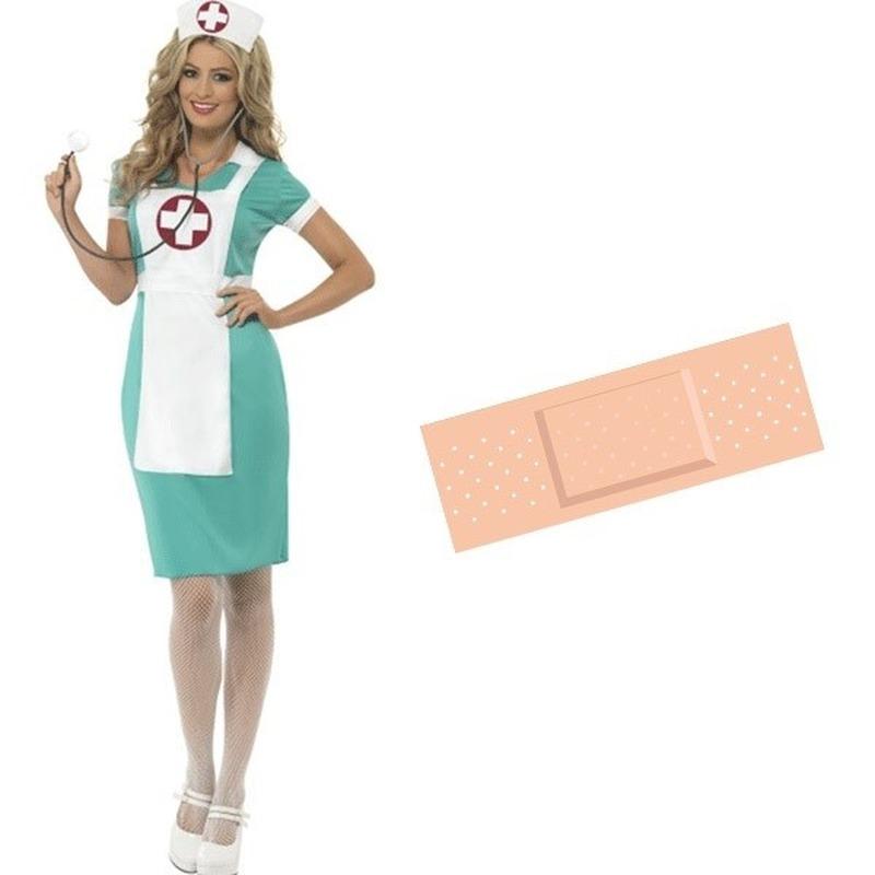 Feestartikelen voordelig zuster kostuum 44/46 (M) met gratis pleister voor dames