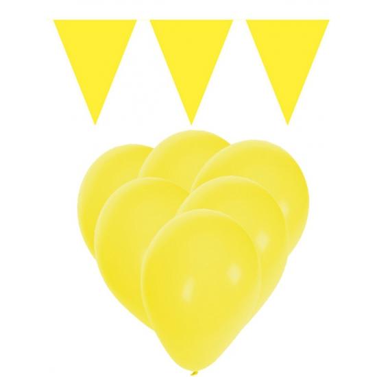 Gele ballonnen en vlaggenlijnen set