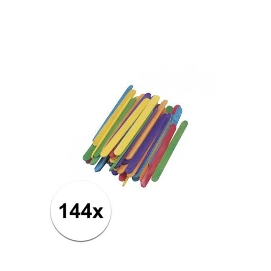 Houten gekleurde knutsel bouwstokjes 144x