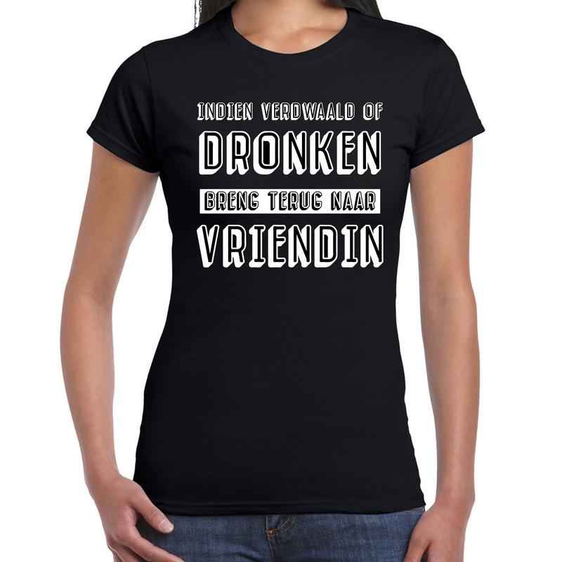 Indien verdwaald of dronken breng terug naar vriendin tekst t shirt zwart dames. op dit zwarte shirt staat de ...