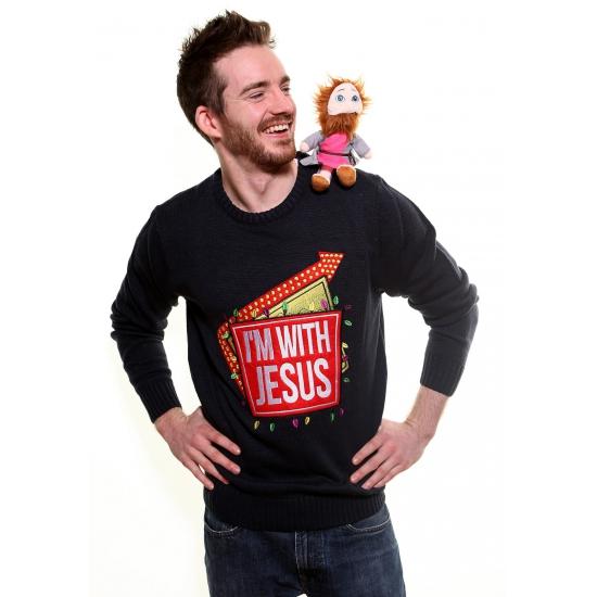 Kersttrui Uitverkoop.Grappige Kerst Trui I Am With Jesus Kerst Truien Trendmax Warenhuis