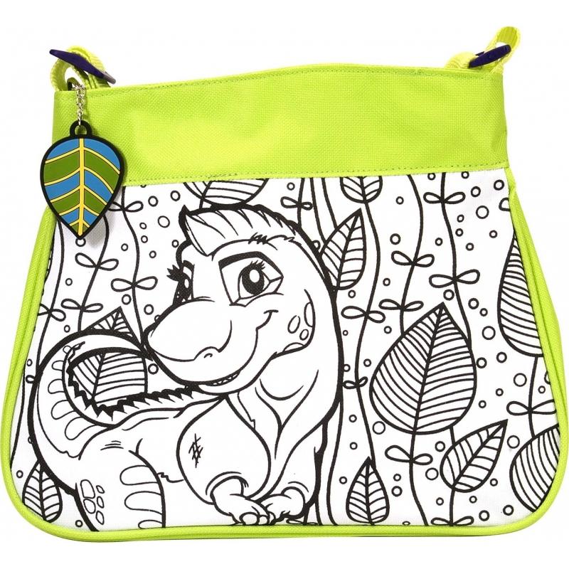 af70b2f5fa2 Inkleurbare dinosaurus tas voor kinderen. kinder schoudertas met dino print  om in te kleuren!