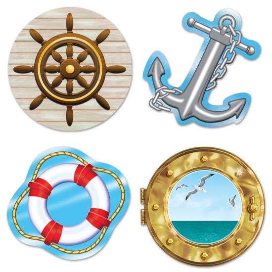 Maritiem thema wanddecoratie 4 stuks. set van 4 decoraties in marine thema. de marietieme decoratie is ...