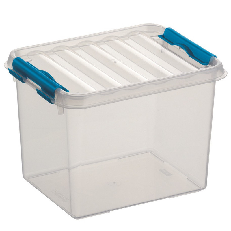 Opberg box/opbergdoos 3 liter 20 x 15 x 14 cm transparant/blauw kunststof. kleine transparante opberg ...