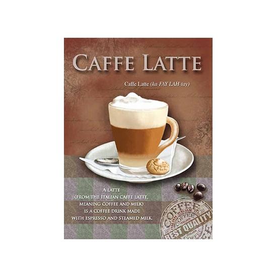 Metalen muurplaat caffe latte 30 x 40 cm. grote decoratie plaat voor aan de muur met de tekst caffe latte en ...