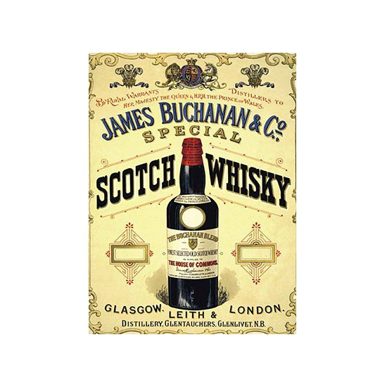 Ouderwetse wandplaat James Buchanan