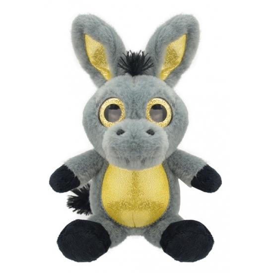 470baeea25a18f Pluche ezel knuffel 23 cm. ezel knuffel zittend, in de kleuren grijs/geel