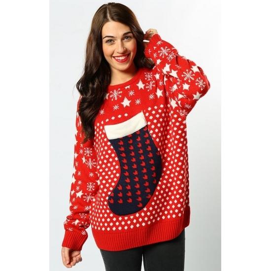 Kersttrui Dames Sneeuwpop.Kerst Trui Rood Kerstsok Kerst Truien Dames Trendmax Warenhuis