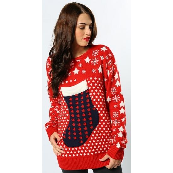 Kersttrui Dames Rood.Kerst Trui Rood Kerstsok Kerst Truien Dames Trendmax Warenhuis