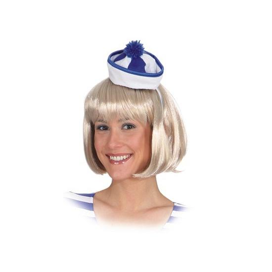 Mini matrozen hoedje blauw/wit. klein matrozen hoedje in de kleuren blauw met wit op haarband.