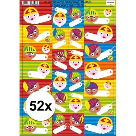 Sinterklaas cadeau stickers 52 stuks Cadeau /feestartikelen/thema-feestartikelen/sinterklaas/sinterklaas-inpakmaterialen/sinterklaas-cadeau-versiering-stickers