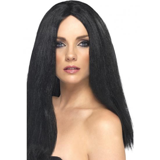 Verkleed pruik met zwart stijl haar